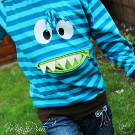 Schnittmuster Kindershirt mit Eingrifftasche Gr. 74-146 (Monster Shirt)