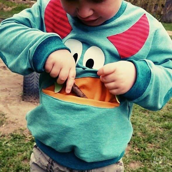 Schnittmuster Kindershirt mit Eingrifftasche Gr. 74-146 (Monster Shirt) - Bild 8