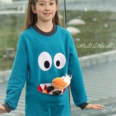 Schnittmuster Kindershirt mit Eingrifftasche Gr. 74-146 (Monster Shirt) - Bild 1