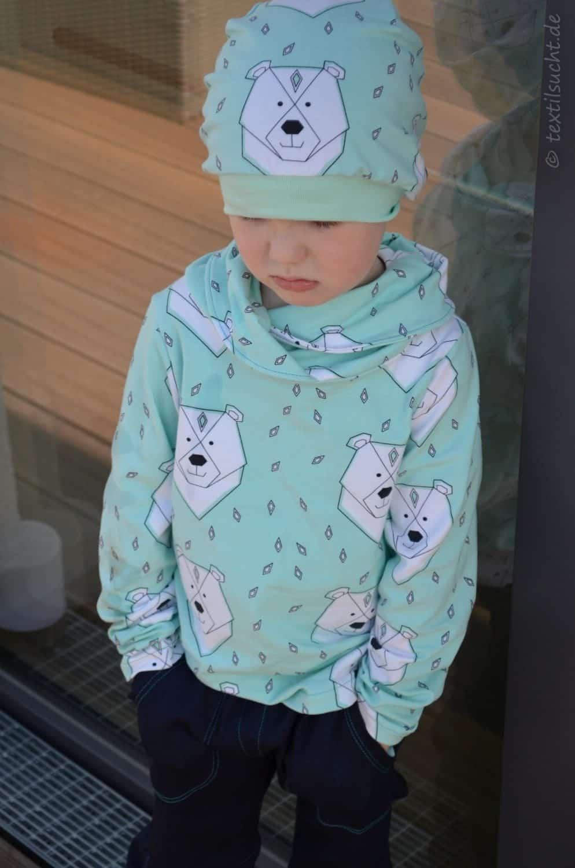 Ratzfatz Beanie Mütze, Kragenshirt und Täschling 2.0 (Polarbärenoutfit) | Textilsucht