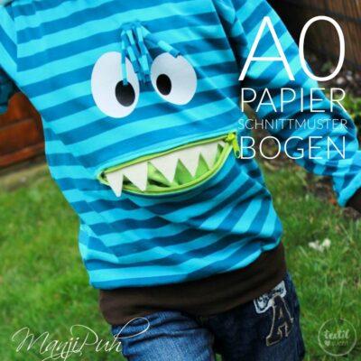 Papierschnittmuster Shirt mit Bauchtasche für Kinder (Monstershirt)