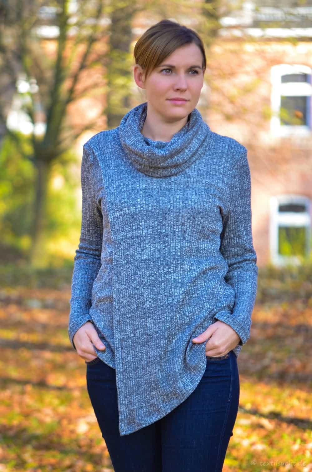 Pullover Leara mit Schalkragen und Überlappung » Textilsucht®
