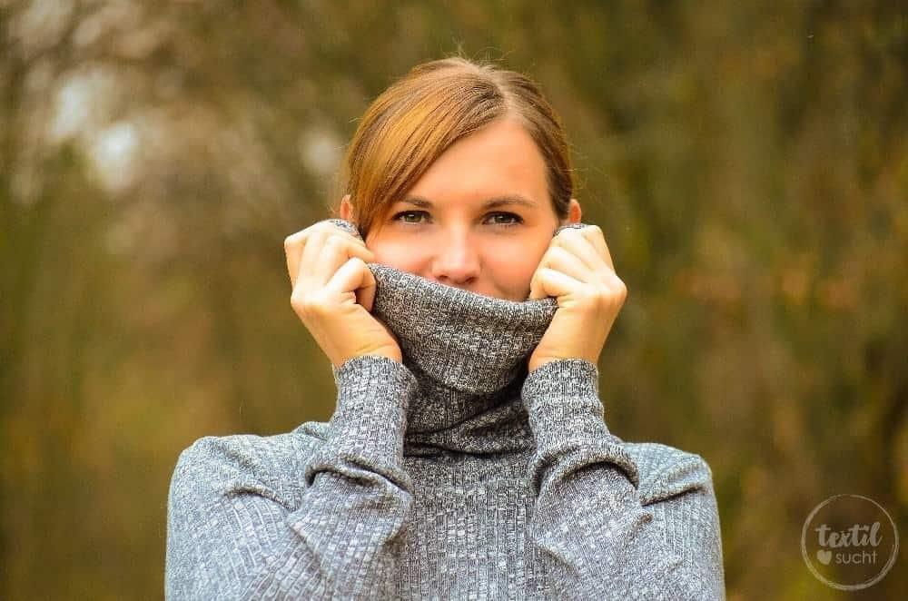 Pullover nähen: Leara mit großem Schalkragen