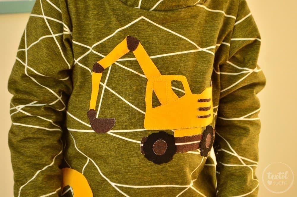 Ein selbstgenähtes Baggershirt zum zweiten Geburtstag - Bild 2 | textilsucht.de
