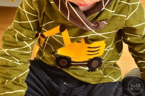 Ein selbstgenähtes Baggershirt zum zweiten Geburtstag - Titelbild   textilsucht.de