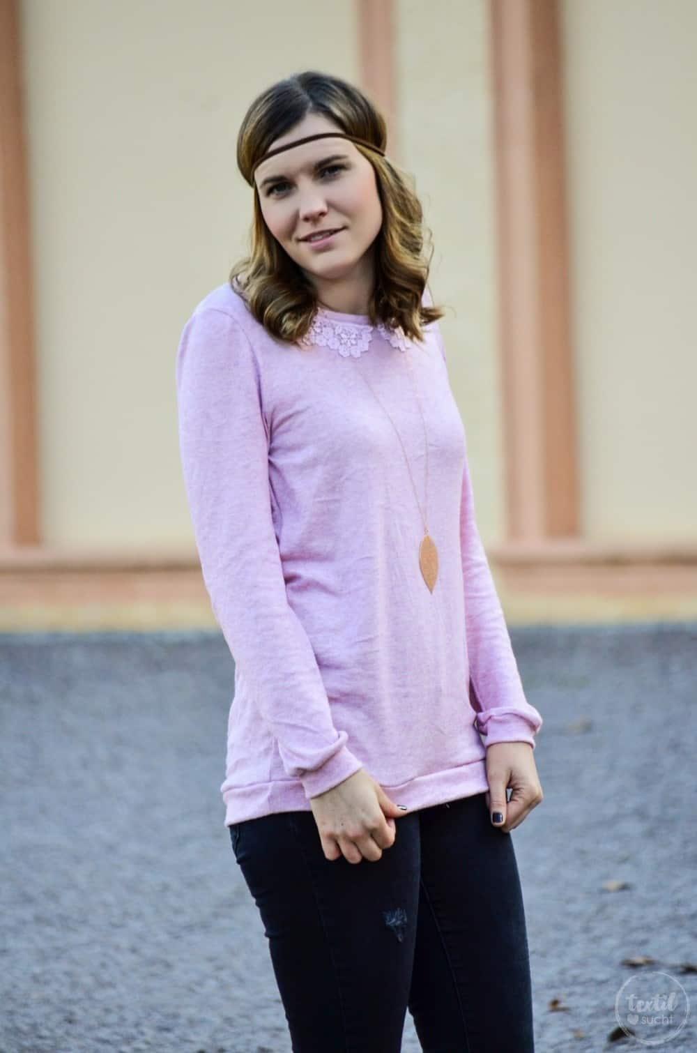 Pullover nähen: Schnittmuster Leara mit Spitzenkragen - Bild 1 | textilsucht.de