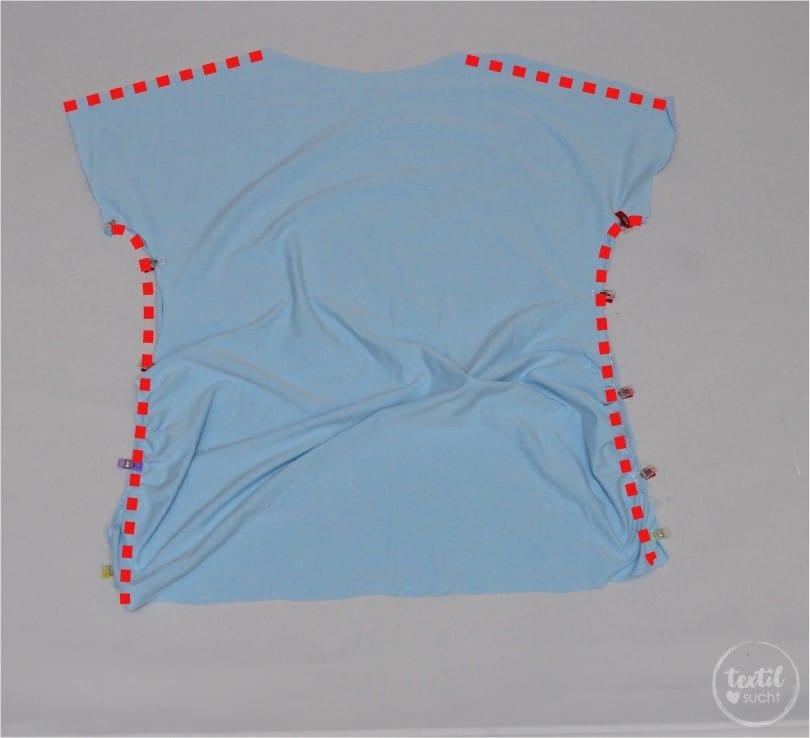 Umstandshirt nähen: Wie du ein normal Schnittmuster anpassen kannst - Schritt 9 | textilsucht.de