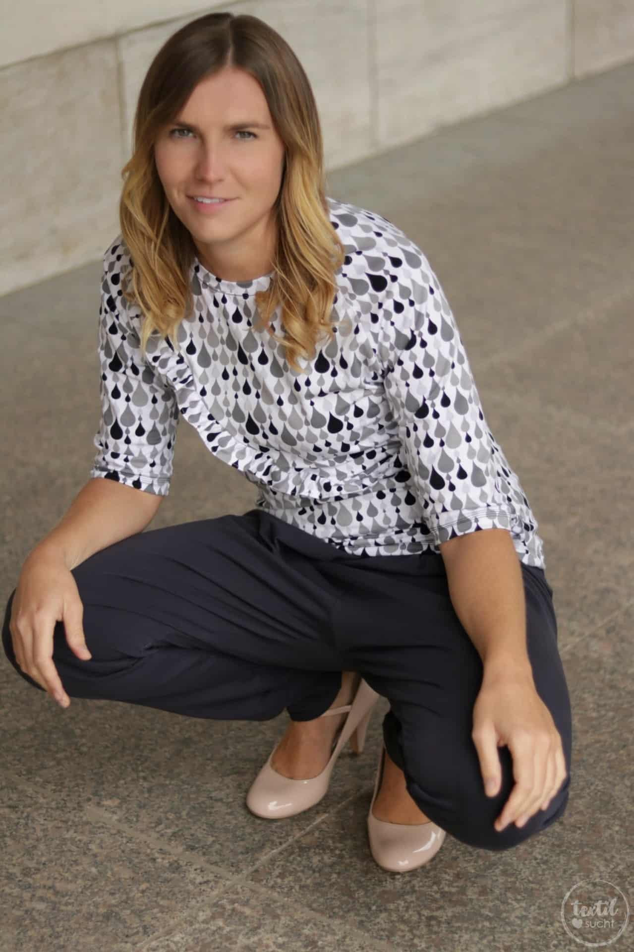 Schnittmuster kombinieren: Shirt Rüschli, Cardigan Lani und Hose Romana - Bild 10   textilsucht.de