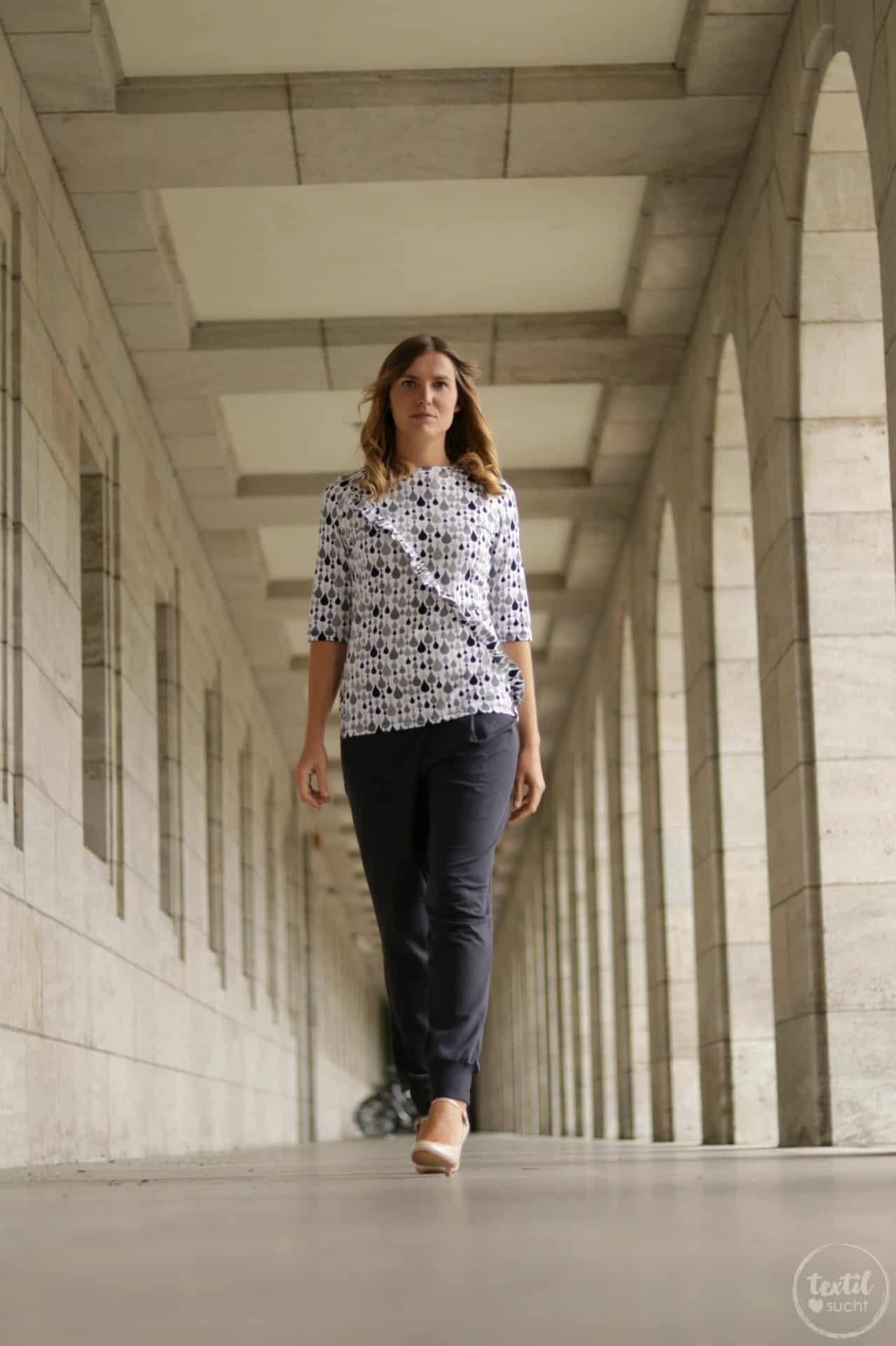 Schnittmuster kombinieren: Shirt Rüschli, Cardigan Lani und Hose Romana - Bild 9   textilsucht.de