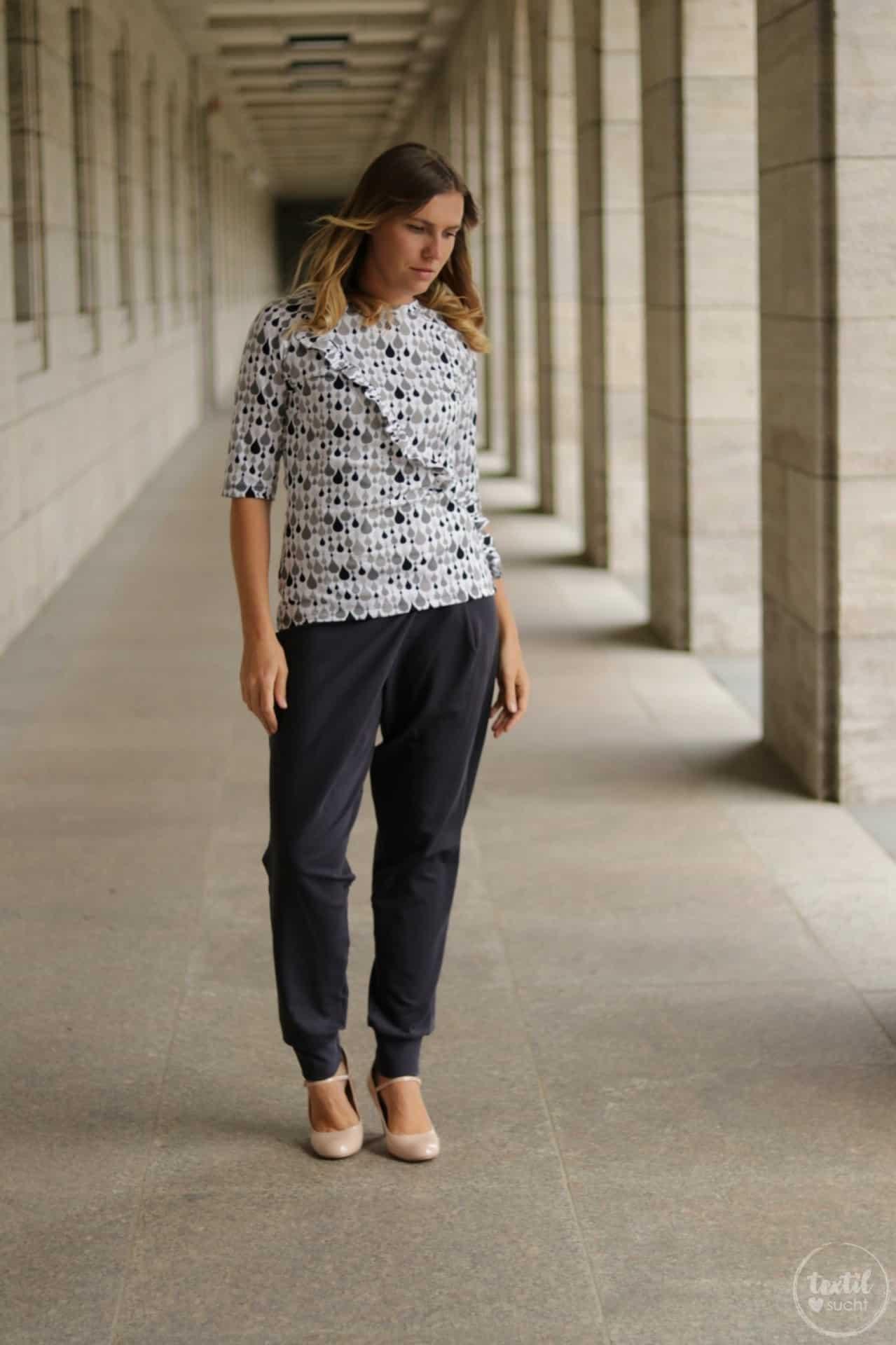 Schnittmuster kombinieren: Shirt Rüschli, Cardigan Lani und Hose Romana - Bild 5   textilsucht.de