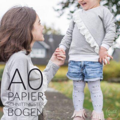 Papierschnittmuster Rüschenshirt Kinder - inkl. Nähanleitung