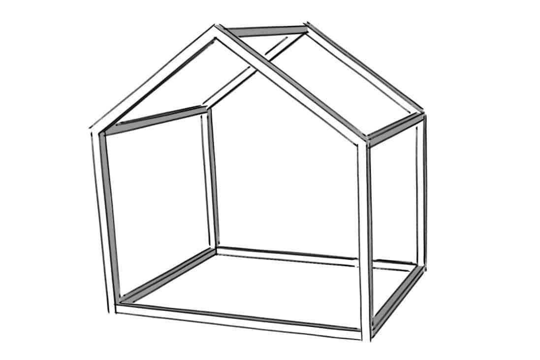 XXL Hausbett Konstruktionsplan Bauzeichnung 140x200