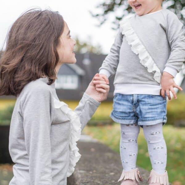 Shirt nähen: Schnittmuster Rüschenshirt für Kinder in den Größen 86 bis 164 inkl. Nähanleitung