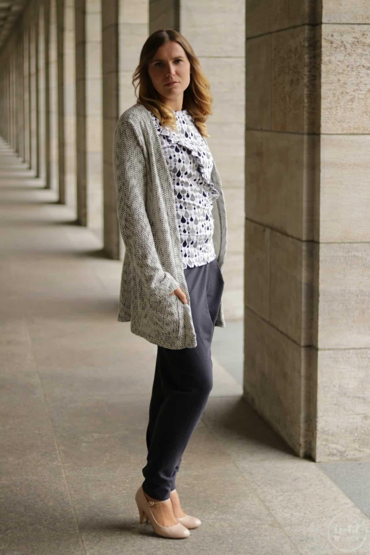 Schnittmuster kombinieren: Shirt Rüschli, Cardigan Lani und Hose Romana - Bild 4   textilsucht.de