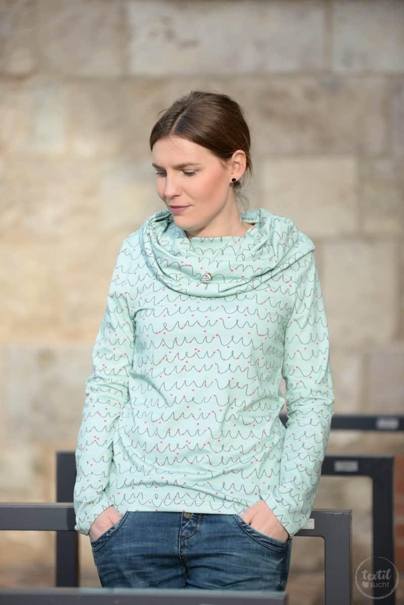 Neues Schnittmuster online: Shirt Anjuta mit Kuschelkragen - Bild 1 | textilsucht.de