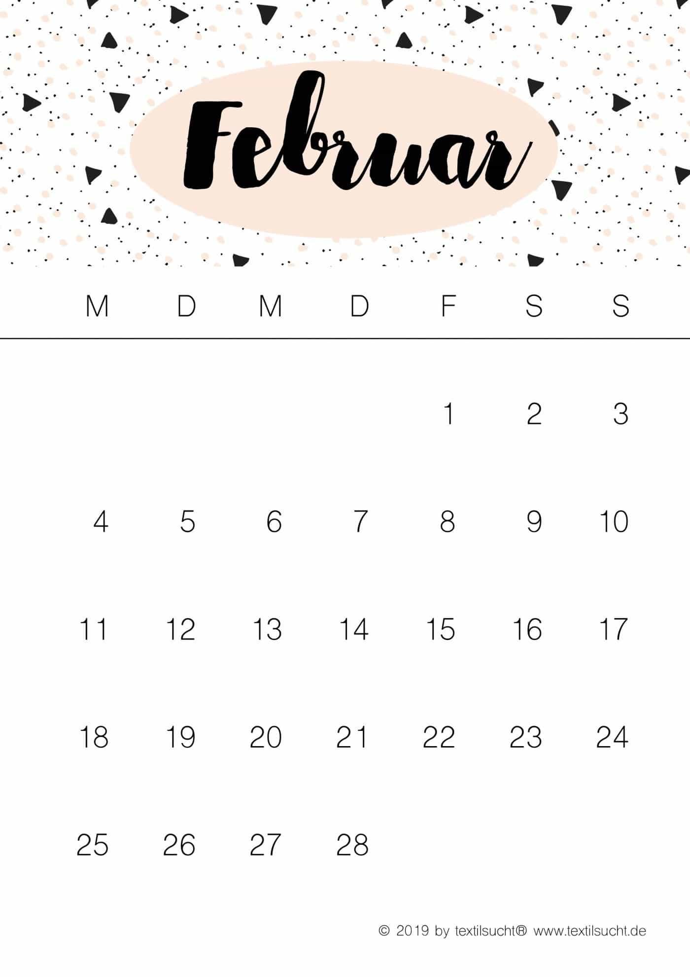 diy kalender 2019 zum ausdrucken kalender plan. Black Bedroom Furniture Sets. Home Design Ideas