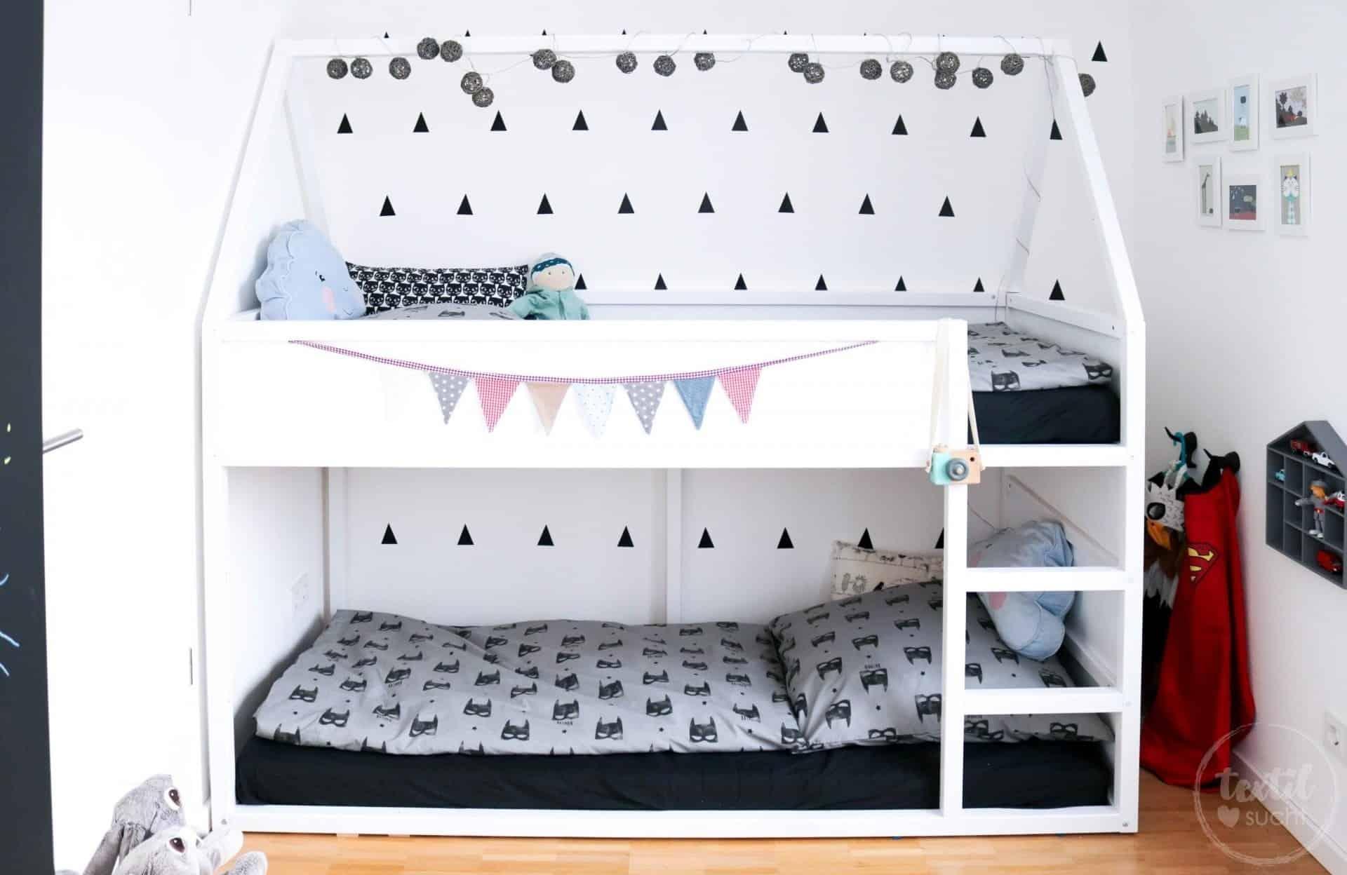 haus hochbett bauanleitung und ein paar tolle ideen f r 39 s kinderzimmer textilsucht. Black Bedroom Furniture Sets. Home Design Ideas