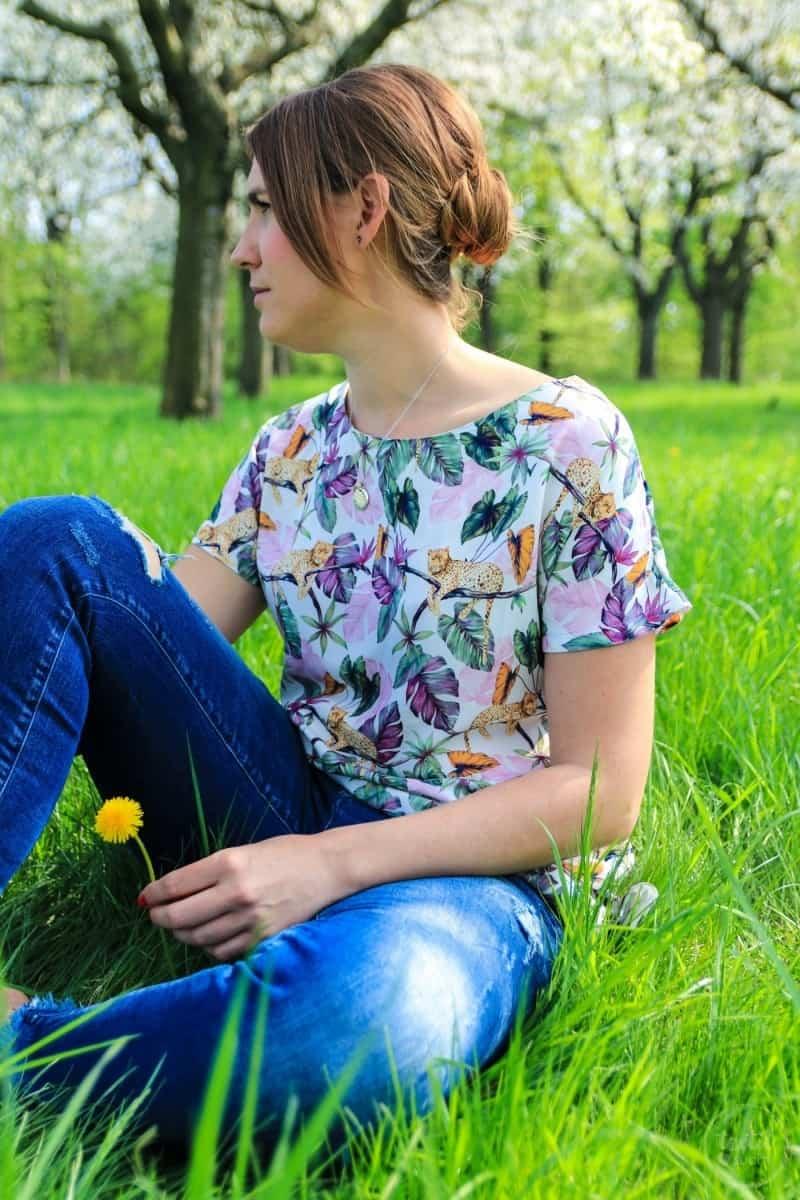 Shirt Lilla aus Webware mit seitlichem Schlitz - Bild 1