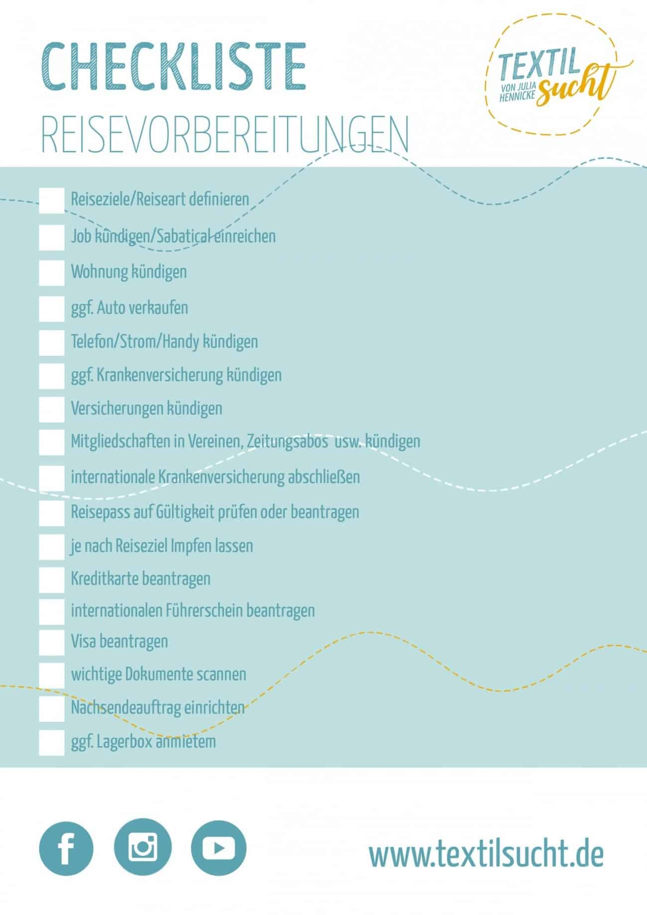 Checkliste Weltreise Vrbereitungen