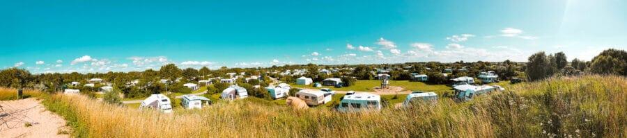 Panoramablick über den Campingplatz Strandcamping Groede