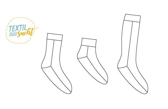 Schnittmuster Socken - Variantenübersicht